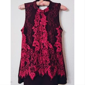 Maurices contrast floral lace mock neck top nwot